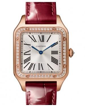 Cartier Santos-Dumont Large Quartz Rose Gold Silver Dial Leather Strap WJSA0016 - BRAND NEW