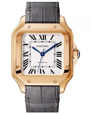 Cartier Santos-Dumont Medium Rose Gold Silver 35mm Dial Leather Strap WGSA0028 - BRAND NEW