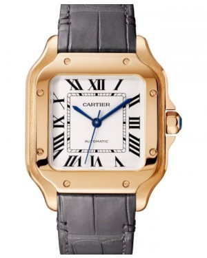 Cartier Santos-Dumont Medium Rose Gold Silver Dial Leather Strap WGSA0028 - BRAND NEW