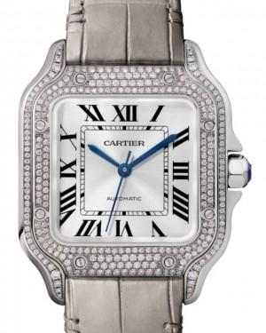 Cartier Santos de Cartier Santos-Dumont Men's Watch Medium Automatic Interchangeable Bracelets White Gold Diamonds Silver Dial Alligator Leather Strap WJSA0014 - BRAND NEW