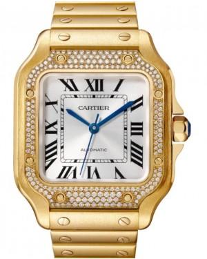 Cartier Santos-Dumont Medium Yellow Gold Diamond Silver Opaline Dial Bracelet WJSA0010 - BRAND NEW