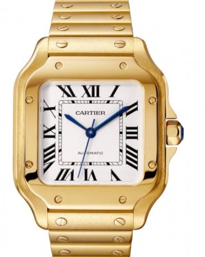 Cartier Santos-Dumont Medium Yellow Gold Silver Opaline Dial Bracelet WGSA0010 - BRAND NEW