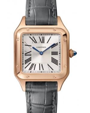 Cartier Santos-Dumont Small Quartz Rose Gold Silver Dial Leather Strap WGSA0022 - BRAND NEW