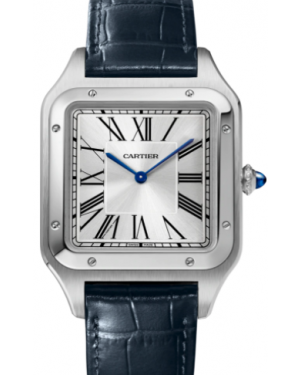 Cartier Santos-Dumont Stainless Steel Silver Extra-Large Dial Leather Strap WSSA0032 - BRAND NEW
