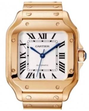 Cartier Santos De Cartier Women's Watch Medium Automatic Interchangeable Metal and Leather Bracelets Rose Gold Silver Dial Rose Gold Bracelet WGSA0031 - BRAND NEW
