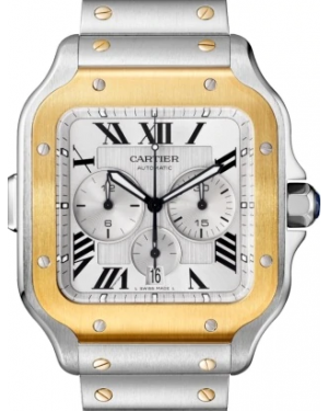 Cartier Santos de Chronograph Silver Dial Two-Tone Yellow Gold/Stainless Steel Bezel & Bracelet 43mm W2SA0008 - BRAND NEW