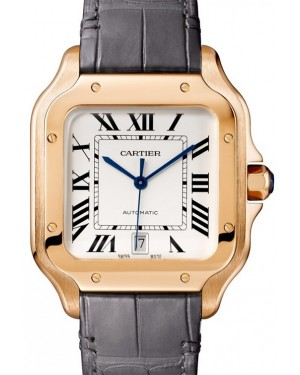 Cartier Santos Rose Gold White Dial Rose Gold Bezel Leather Strap 39.8mm WGSA0011 - BRAND NEW