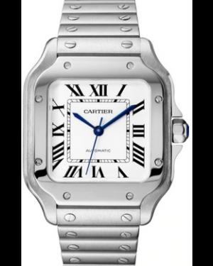 Cartier Santos Medium Stainless Steel Silver Opaline Dial Bracelet WSSA0010 - BRAND NEW