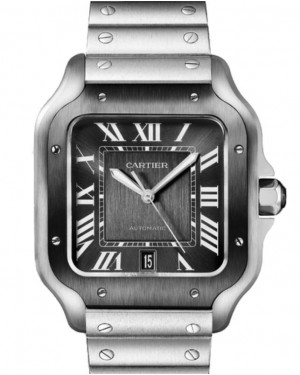 Cartier Santos Stainless Steel Gray Large Dial ADLC Bezel Bracelet WSSA0037 - BRAND NEW