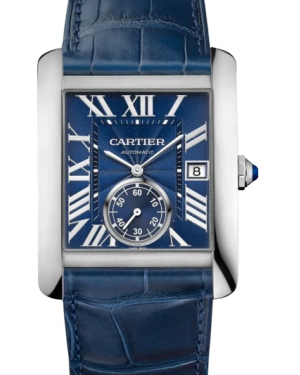 Cartier Tank MC Blue Dial Stainless Steel Bezel Blue Leather Strap 34.3mm X 44mm WSTA0010 - BRAND NEW