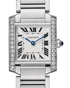 Cartier Tank Medium Francaise Silver Dial Diamond Bezel Stainless Steel 30mm x 25mm Quartz W4TA0009 - BRAND NEW