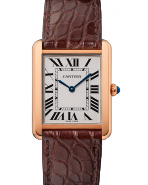 Cartier Tank Solo Rose Gold Silver Large Dial Leather Bracelet W5200025 - BRAND NEW