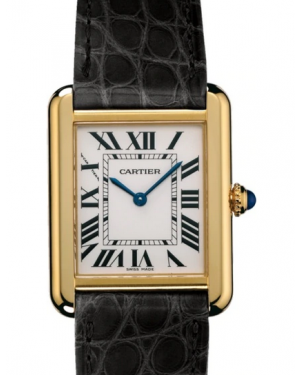 Cartier Tank Solo Silver Dial Yellow Gold Bezel Black Leather Strap 40mm W5200002 - BRAND NEW