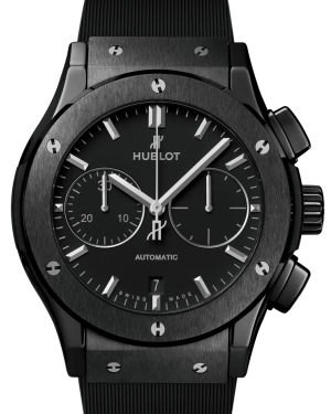 Hublot Classic Fusion Chronograph Black Magic Ceramic Black 45mm Dial Bezel Rubber Strap 521.CM.1171.RX - BRAND NEW