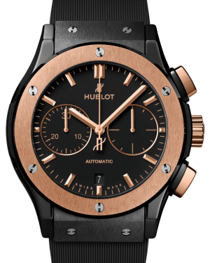 Hublot Classic Fusion Ceramic King Gold Chronograph Blue 45mm Dial Bezel Rubber Strap 521.CO.1181.RX - BRAND NEW