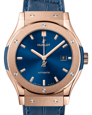 Hublot Classic Fusion King Gold Blue 42mm Dial Rubber Leather Strap Automatic 542.OX.7180.LR - BRAND NEW