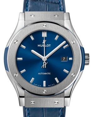 Hublot Classic Fusion Titanium Blue 42mm Dial Bezel Leather Strap 542.NX.7170.LR - BRAND NEW