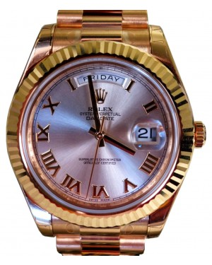 Rolex Day-Date II 218238-SLVRFP 41mm Silver Roman Fluted Yellow Gold President BRAND NEW