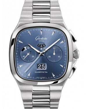 Glashutte Seventies Chronograph Panorama Date Stainless Steel Blue 40mm Dial Bezel Bracelet 1-37-02-03-02-70 - BRAND NEW