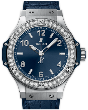Hublot Big Bang Blue Dial Diamond Bezel Leather Strap Stainless Steel 38mm 361.SX.7170.LR.1204 - BRAND NEW