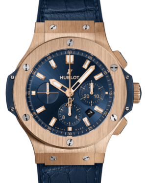 Hublot Big Bang Gold Blue 44mm Dial Bezel Rubber Strap 301.PX.7180.LR - BRAND NEW