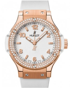 Hublot Big Bang Original 3-Hands Gold White Diamonds 38mm White Dial Rubber Strap 361.PE.2010.RW.1104 - BRAND NEW