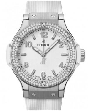 Hublot Big Bang Original 3-Hands Steel White Diamonds 38mm White Dial Rubber Strap 361.SE.2010.RW.1104 - BRAND NEW