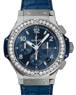 Hublot Big Bang Steel Blue Diamonds Blue 44mm Dial Bezel Leather Strap  341.SX.7170.LR.1204 - BRAND NEW