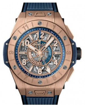 Hublot Big Bang Unico GMT King Gold 45mm Skeleton Dial RubberStrap 471.OX.7128.RX - BRAND NEW