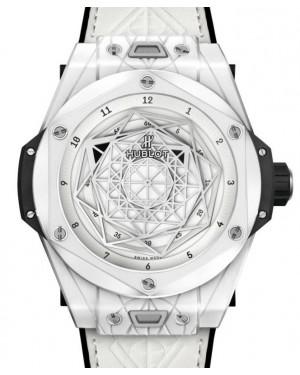 Hublot Big Bang Unico Sang Bleu Ceramic White 45mm White Dial Rubber Leather Straps 415.HX.2027.VR.MXM19 - BRAND NEW