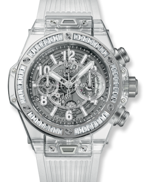 Hublot Big Bang Unico Skeleton Arabic White Dial White Gold Bezel Transparent Rubber Strap 45mm 411.JX.4802.RT.1904 - BRAND NEW