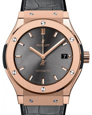 Hublot Classic Fusion 3-Hands King Gold 45mm Grey Dial Rubber and Alligator Leather Straps 511.OX.7081.LR - BRAND NEW