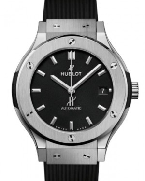 Hublot Classic Fusion 3-Hands Titanium 38mm Black Dial Rubber Strap 565.NX.1171.RX - BRAND NEW