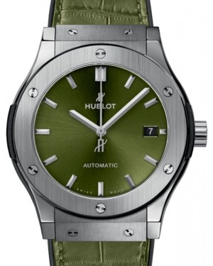 Hublot Classic Fusion 3-Hands Titanium 45mm Green Dial Rubber and Alligator Leather Straps 511.NX.8970.LR - BRAND NEW
