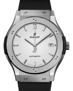 Hublot Classic Fusion 3-Hands Titanium 45mm Silver Dial Rubber Strap 511.NX.2611.RX - BRAND NEW