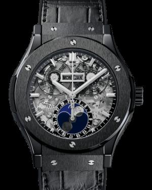 Hublot Classic Fusion Aerofusion Moonphase Black Magic Ceramic Sapphire 45mm Dial Bezel Leather Strap 517.CX.0170.LR - BRAND NEW