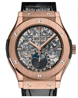 Hublot Classic Fusion Aerofusion Moonphase King Gold 45mm Skeleton Dial Rubber and Alligator Leather Straps 517.OX.0170.LR - BRAND NEW