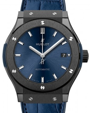 Hublot Classic Fusion 3-Hands Ceramic Blue 45mm Blue Dial Rubber and Alligator Leather Straps 511.CM.7170.LR - BRAND NEW