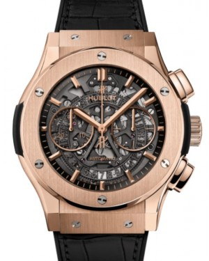 Hublot Classic Fusion Chronograph Aerofusion King Gold 45mm Skeleton Dial Rubber and Alligator Leather Straps 525.OX.0180.LR - BRAND NEW