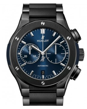 Hublot Classic Fusion Chronograph Ceramic Blue Bracelet 45mm Blue Dial Ceramic Bracelet 520.CM.7170.CM - BRAND NEW