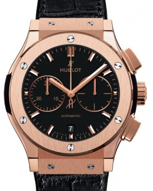 Hublot Classic Fusion Chronograph King Gold 45mm Black Dial Rubber and Alligator Leather Straps 521.OX.1181.LR - BRAND NEW