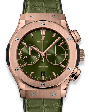 Hublot Classic Fusion Chronograph King Gold Green Dial Rose Gold Bezel Leather Strap 45mm 521.OX.8980.LR - BRAND NEW