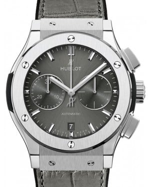 Hublot Classic Fusion Chronograph Titanium 45mm Grey Dial Rubber and Alligator Leather Straps 521.NX.7071.LR - BRAND NEW