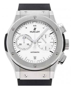 Hublot Classic Fusion Chronograph Titanium 45mm White Dial Rubber Strap 521.NX.2611.RX - BRAND NEW