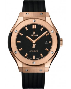 Hublot Classic Fusion King Gold Rose Black 33mm Dial Rubber Leather Strap Automatic 582.OX.1180.RX - BRAND NEW
