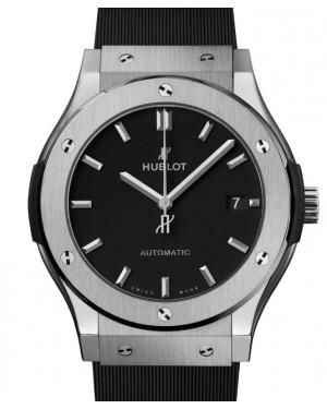 Hublot Classic Fusion 3-Hands Titanium 45mm Black Dial Rubber Strap 511.NX.1171.RX - BRAND NEW