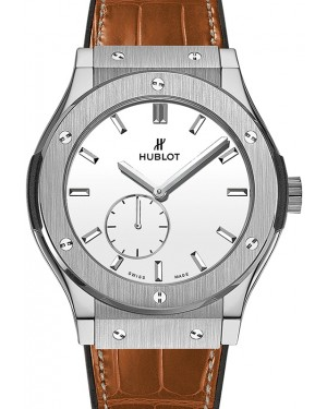 Hublot Classic Fusion Ultra-Thin White Index Dial Titanium Bezel Leather Strap 42mm 545.NX.2210.LR - BRAND NEW