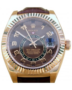 Rolex Sky-Dweller 326135 Chocolate 18k Rose Gold 42mm Leather BRAND NEW