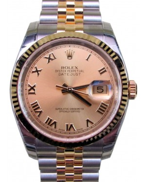 Rolex Datejust 36 116233-GLDRFJ Champagne Roman Fluted Yellow Gold Stainless Steel Jubilee BRAND NEW