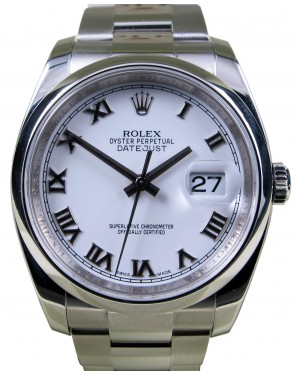 Rolex Datejust 116200 Roman White Stainless Steel 36mm